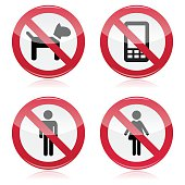 No dogs, No mobile phones, No men, No women warning sign - road sign