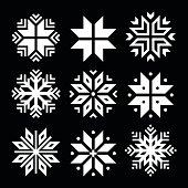 Snowflakes, Christmas vector white icons set on black