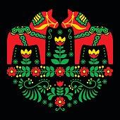 Swedish Dala or Daleclarian horse floral folk art pattern
