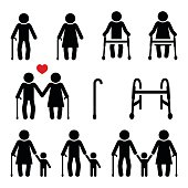 Old people, seniors with walking stick or Zimmer frame
