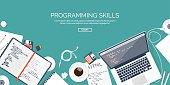 Programming,coding. Flat computing background. Code, hardware,software. Web development