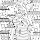 Cute city street coloring book page for adults and kids