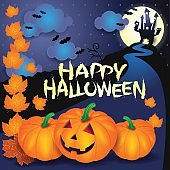 Halloween background with pumpkins, text and castle
