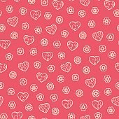 Hand drawn doodle flowers and hearts Seamless pattern. Valentines background