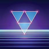 Retro styled futuristic landscape with triangles and shiny base
