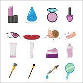 Cosmetic Beauty Flat Icon Set Vector