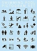 Swimming pool pictogram set.