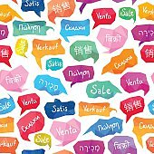 Seamless pattern. Word 'Sale' on different languages