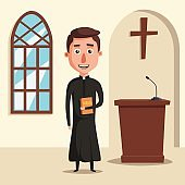 Young catholic priest. Cartoon vector illustration.