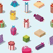 Seamless pattern with colored gift boxes.
