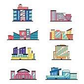 Set of public buildings. Modern architecture. Flat vector illustration.