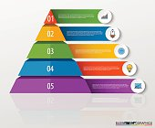 Infographic multilevel pyramid with numbers and business icons.
