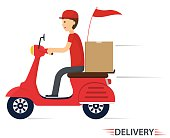 Delivery service on scooter, motorcycle. Fast worldwide shipping