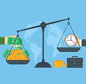 Time and money on scales, concept business people.