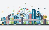 Smart City with business signs. Modern design city