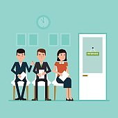 Waiting for job interview. Vector flat illustration where candidates sitting