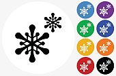 Snowflakes Icon on Flat Color Circle Buttons