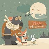 Bear,rabbit and fox watching the moon