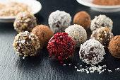 Homemade chocolate candy balls