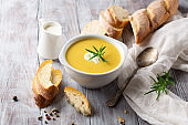 Vegetable cream soup in a white bowl