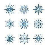 Auto spare parts snowflakes set