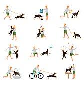 Man Dog Training Playing Pet Stick