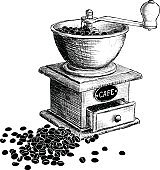 Coffee mill. Hand drawn illustration.