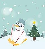 Snowman playing ski on snow background.