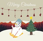 Snowman playing ski on mountain background.