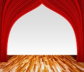 Background with red curtain and wooden floor interior background