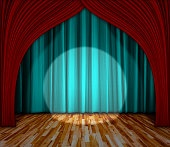 lighting on stage. curtain and wooden floor interior background