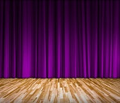 purple curtain and wooden floor interior background