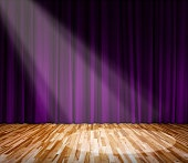 lighting on stage with purple curtain and wooden floor