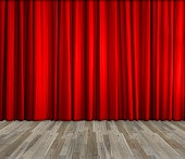 red curtain and wooden floor interior background