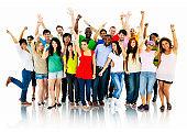 Large Group of People Celebrating community Concept