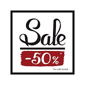 Sale banner template design. Simple message card. Hand drawn lettering