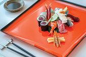 Spicy tuna roll and nigiri sushi
