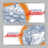 Two banners with sketch sandwiches