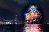 Fireworks at Victoria harbor of Hong Kong