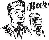 Beer bar or Pub. Happy smiling man with mug of