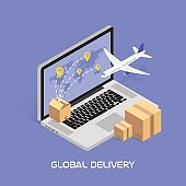 Isometric Concept Online tracking. Shipping and global deliveries by air
