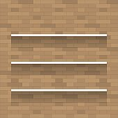 Empty wooden shelf for exhibit on brick wall texture background