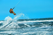 Recreational Water Sports Action. Kiteboarding Extreme Sport. Surfing
