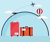 Travel Bag, Luggage Flat Design