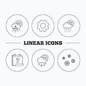 Snowflakes, sun and rain icons.