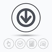 Download icon. Load internet data sign.