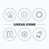 Weather, sun and snow icons.