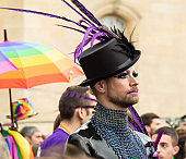 The participant of Gay pride parade  in Paris, France.