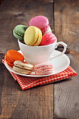 French macarons or macaroons, dessert, toned image