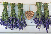 Lavender and wooden heart